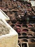 Fez, Marrocos - o tannery o mais velho no mundo Imagem de Stock Royalty Free