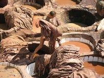 Fez, Marrocos - o tannery o mais velho no mundo Imagens de Stock Royalty Free