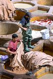 FEZ, MOROCCO – APRIL 10: Local people working as a tanner in t stock images