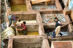 FEZ, MOROCCO – APRIL 10, 2016: Tanneries of Fez, Morocco, Afri. Ca. Workers working hard in a Africa Old tanks of the Fez`s tanneries with color paint for royalty free stock photo