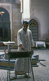 FEZ, MOROCCO – AUGUST, 1979. In the courtyard of a restaurant, a chef cooking a grilled skewers of lamb on August, 1979 in Fez, Morocco Royalty Free Stock Images