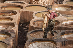 FEZ, MOROCCO – FEBRUARY 20, 2017 : Man working at the famous Chouara Tannery in the medina of Fez, Morocco Stock Photo