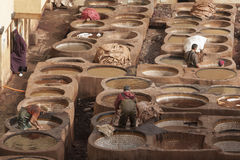 FEZ, MOROCCO – FEBRUARY 20, 2017 : Men working at the famous Chouara Tannery in the medina of Fez, Morocco Royalty Free Stock Photography