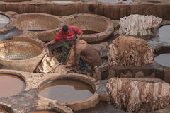 FEZ, MOROCCO – FEBRUARY 20, 2017 : Men working at the famous Chouara Tannery in the medina of Fez, Morocco Stock Photo