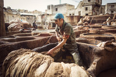 FEZ, MOROCCO - APRIL 19: Workers at leather factory perform the Stock Photography