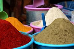 Fez Morocco Colorful Spices. FEZ/MOROCCO - 9 NOVEMBER 2017: Colorful spices exposed at a market in the medina of Fez royalty free stock photography