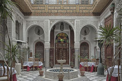 FEZ, MOROCCO - FEBRUARY 19, 2017: Interior of a riad small family owned hotel in the medina of Fes Stock Images