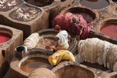 FEZ, MOROCCO - FEBRUARY 20, 2017: Men working within the paint holes at the famous Chouara Tannery in the medina of Fez. The leather tannery dates back to the Royalty Free Stock Images