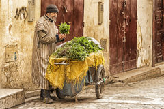 FEZ, MOROCCO - FEBRUARY 20, 2017: Unidentified man in the medina of Fez Royalty Free Stock Images