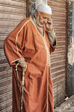 FEZ, MOROCCO - FEBRUARY 20, 2017: Unidentified man in the medina of Fez Stock Images