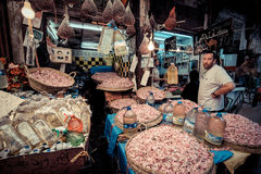 FEZ, MOROCCO, JUNE 2016: traditional shop in the old market. Str Royalty Free Stock Photo