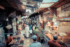 FEZ, MOROCCO, JUNE 2016: traditional shop in the old market. Str Stock Images
