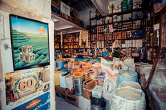 FEZ, MOROCCO, JUNE 2016: traditional shop in the old market. Str Stock Photo