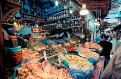FEZ, MOROCCO, JUNE 2016: traditional shop in the old market. Str Stock Image