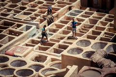 FEZ, MOROCCO, JUNE 2016: workers in the traditional leather colo Stock Photo