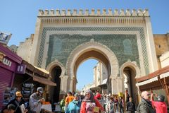 The inner side of the green ancient horseshoe arches gate Bab Boujloud. Fes el Bali. royalty free stock photo