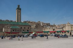 Rcif square near entrance to ancient Fez El Bali Medina. Fez, Mo. Fez, Morocco - May 9, 2017: Rcif square near entrance to ancient Fez El Bali Medina Royalty Free Stock Photography
