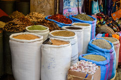 FEZ, MOROCCO. MAY 31, 2012: Spices and herbs for sale in old shop inside Medina of Fez Stock Images