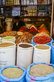 FEZ, MOROCCO. MAY 31, 2012: Spices and herbs for sale in old shop inside Medina of Fez Stock Photos