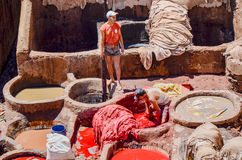 FEZ, MOROCCO, MAY 31, 2012- Workers in the Chouwara Tannery in the medina of Fez Stock Images