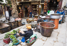 FEZ, Morocco,Place Seffarine, metal souk square in Fez. Stock Photos