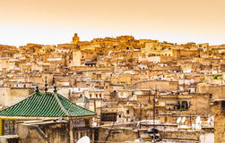 Fez panoramic view of town, Marocco. Royalty Free Stock Photography