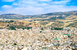 Fez panoramic view of town, Marocco. Royalty Free Stock Photos