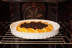 Fez recentemente o galette caseiro com framboesas pretas e abricó no forno doméstico imagem de stock royalty free