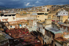 Fez, royal city in Morocco. View of tannery in Fez, Moroccan royal city Stock Images