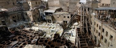 Fez tanneries panorama. A photostitch panorama of the fez tanneries. At the time, august, the picture was taken, mainly brown dyes were used Royalty Free Stock Photography
