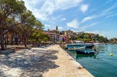 Fezzano small town and harbor near Portovenere, Liguria, Italy Stock Images