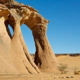 Fezzi Jaren Natural Rock Arch - Akakus, Sahara. Fezzi Jaren Arch - Huge natural rock arch - Akakus (Acacus) Mountains, Sahara, Libya royalty free stock photos