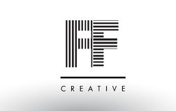 FF F F Black and White Lines Letter Logo Design. Royalty Free Stock Photos