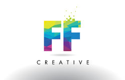 FF F F Colorful Letter Origami Triangles Design Vector. FF F F Colorful Letter Design with Creative Origami Triangles Rainbow Vector Royalty Free Stock Photo