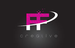FF F F Creative Letters Design With White Pink Colors Stock Photography