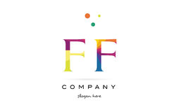 Ff f f  creative rainbow colors alphabet letter logo icon. Ff f f  creative rainbow colors colored alphabet company letter logo design vector icon template Stock Photo