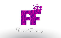 FF F F Dots Letter Logo with Purple Bubbles Texture. Royalty Free Stock Photography