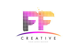 FF F F Letter Logo Design with Magenta Dots and Swoosh Stock Photo