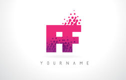 FF F F Letter Logo with Pink Purple Color and Particles Dots Des Stock Photos