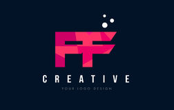 FF F F Letter Logo with Purple Low Poly Pink Triangles Concept. FF F F Purple Letter Logo Design with Low Poly Pink Triangles Concept Royalty Free Stock Images