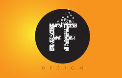 FF F F Logo Made of Small Letters with Black Circle and Yellow B Royalty Free Stock Images