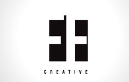 FF F F White Letter Logo Design with Black Square. Royalty Free Stock Images