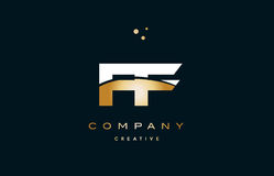 Ff f f  white yellow gold golden luxury alphabet letter logo ico. Ff f f  white yellow gold golden metal metallic luxury alphabet company letter logo design Royalty Free Stock Photos