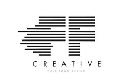 FF F F Zebra Letter Logo Design with Black and White Stripes. Vector Stock Images