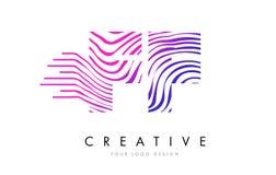 FF F F Zebra Lines Letter Logo Design with Magenta Colors Stock Photo
