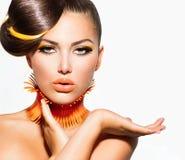FFashion Model Girl Portrait. Fashion Model Girl Portrait with Yellow and Orange Makeup Royalty Free Stock Photos