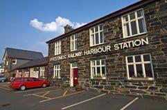 Ffestiniog railway. Harbor station in Wales stock image