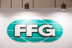 FFG logo sign printed on banner. FFG Werke GmbH is a German manufacturing company of machine tool industry. Moscow, Russia - May, 2017: FFG logo sign printed on Stock Photo