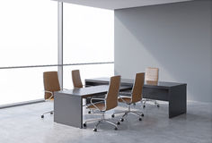 Оffice interior with huge windows and copy space panoramic view. A concept of CEO workplace. 3D rendering. Stock Photo