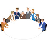 Ffice worker who holds a meeting with a round table. Office worker meeting to make a meeting and a meeting in companies Stock Photography